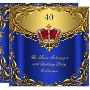 Prince King Red Gold Royal Blue Crown Birthday Invitation