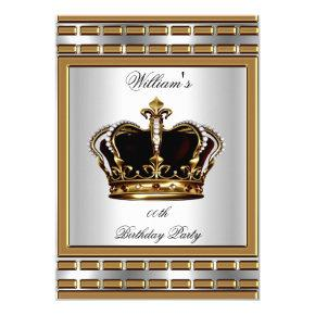 Prince King Royal Crown Gold Silver Birthday Party Invitation