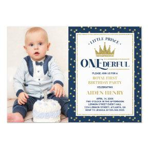 Prince ONEderful First Birthday Invitation, Blue Invitation