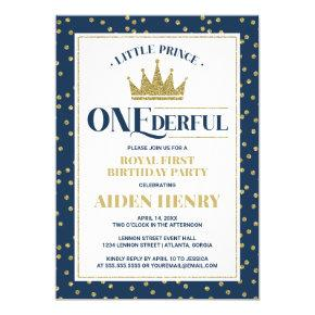 Prince ONEderful First Birthday Party Invitation