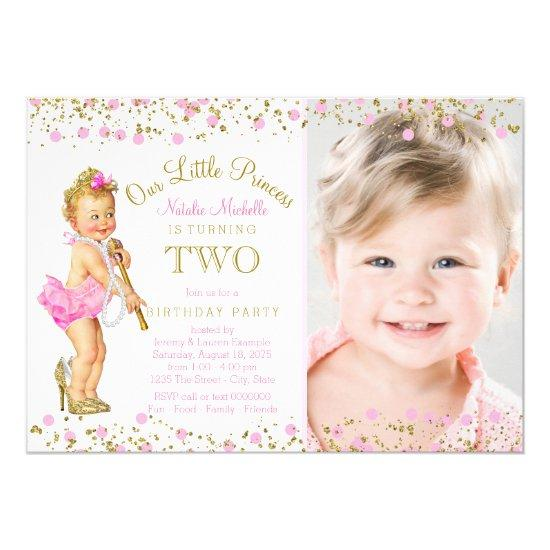 Princess 2nd Birthday Pink Gold Photo Invitations