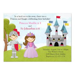 Princess and Knight Joint Birthday Party Invitation