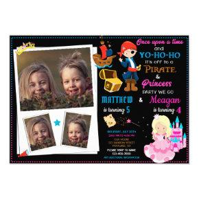 Princess and Pirate birthday invitation Two theme