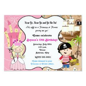 Princess and Pirate Birthday Party Invitation