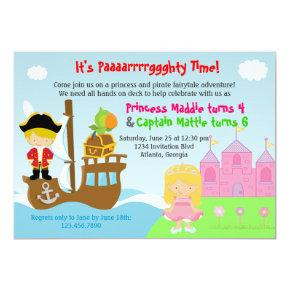Princess and Pirate Twins Joint Birthday Party Invitations