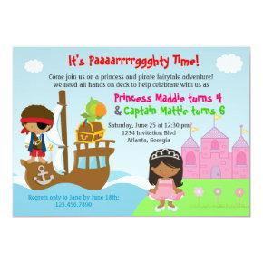 Princess and Pirate Twins Joint Birthday Party Invitation