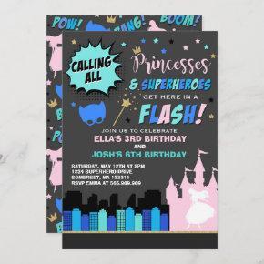 Princess And Superhero Birthday Invitation
