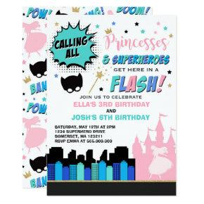 Princess And Superhero Birthday Invitation