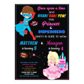 Princess and Superhero birthday invitation Joint
