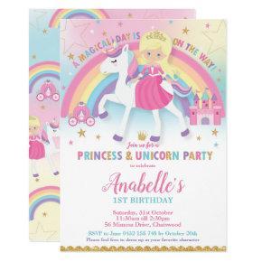 Princess and Unicorn Birthday  Blonde