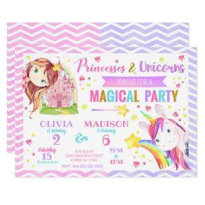 Princess and Unicorn Joint Birthday Invitation