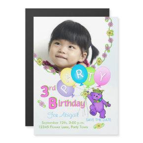 Princess Bear Custom 3rd Birthday Party Magnetic Invitation