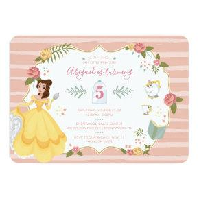Princess Belle | Pink Floral Birthday Invitation