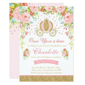 Princess Birthday Invitations Gold Princess Party