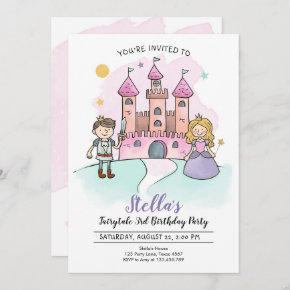 Princess Birthday Invitation Knights Fairytale