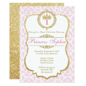 Princess Birthday Invitations Pink & Gold