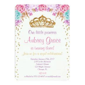 Princess birthday Invitations, pink purple gold Invitations
