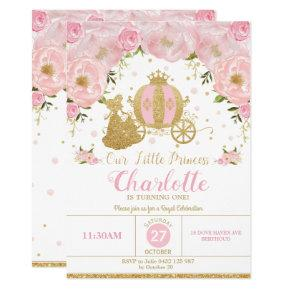 Princess Birthday Party Carriage Pink and Gold Invitation