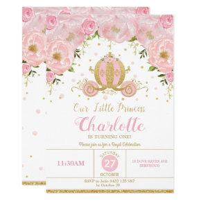 Princess Birthday Party Carriage Pink Floral Invitation