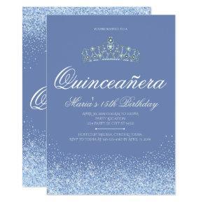 Princess Blue Glitter Quinceanera