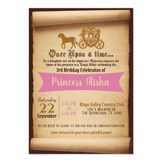 Princess Carriage Birthday Invitation