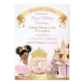 Princess Castle Carriage Pink Gold Girl Photo Invitations