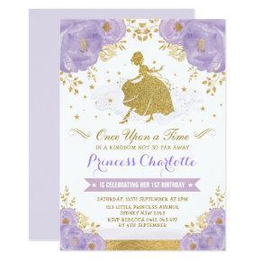 Princess Cinderella Purple Gold Floral Birthday Invitation