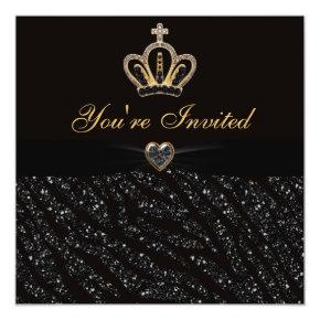 Princess Crown, Heart & Zebra Glitter Birthday Invitation