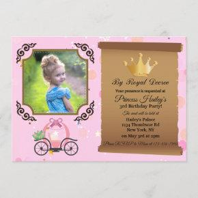 Princess Crown Pink Photo Birthday Invitation