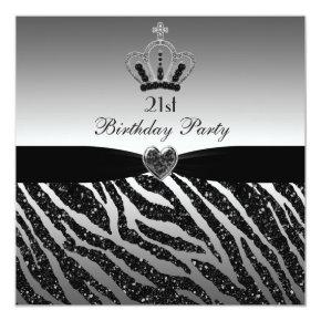 Princess Crown Zebra Glitter 21st Birthday Invitation