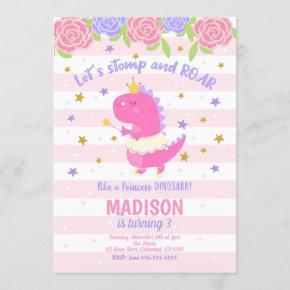 Princess Dinosaur Birthday Invitation