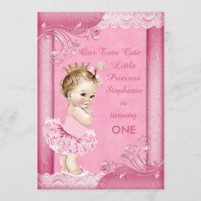 Princess in Tutu Baby 1st Birthday Faux Lace Invitation