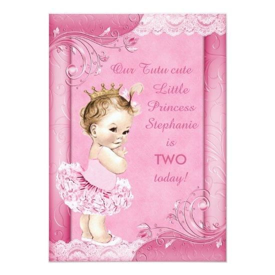 Princess In Tutu Baby 2nd Birthday Faux Lace Invitations