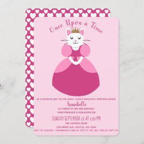 Princess Kitty Kids Birthday Invitation