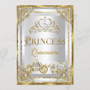 Princess Pearl Gold White Quinceanera carriage Invitation