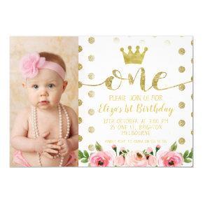Princess Photo 1st Birthday Party Invitations