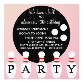 Princess Pink Pin Party Bowling Birthday Party Invitation
