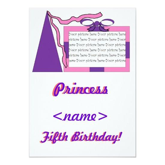 Princess Pink Purple Hat Fifth Birthday Party Invi Invitations