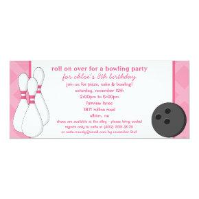 Princess Pink Roll on Over Bowling Birthday Party Invitation