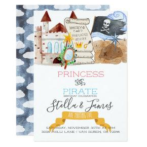 Princess & Pirate Joint Birthday Party Invitations