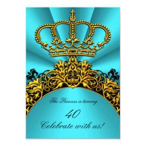 Princess Prince King Queen Gold Teal Birthday Invitation