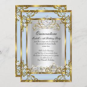 Princess Quinceanera 15th Birthday Blue Invitation