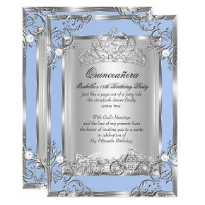 Princess Quinceanera 15th Birthday Blue Silver Invitations