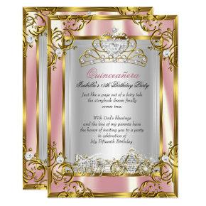 Princess Quinceanera 15th Birthday Pink Peach 2 Invitation