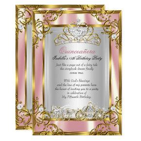 Princess Quinceanera 15th Birthday Pink Peach 2 Invitation