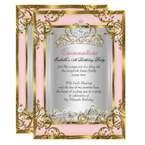 Princess Quinceanera 15th Birthday Pink Peach Invitations