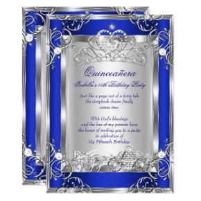 Princess Quinceanera 15th Party Deep Blue Silver Invitation