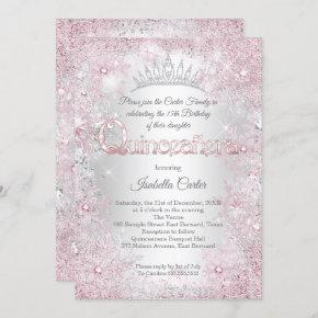 Princess Quinceanera Birthday Party Pink Silver Invitation