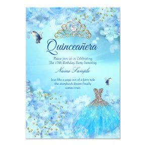 Princess Quinceanera cinderella blue floral dress Invitation