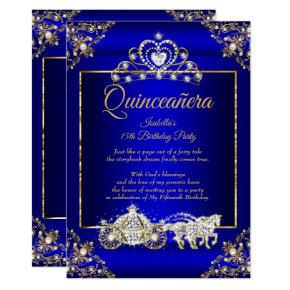 Princess Quinceanera Elite Royal Blue Gold Invitation